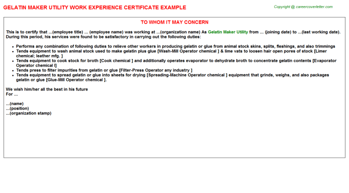 gelatin maker utility experience letter template