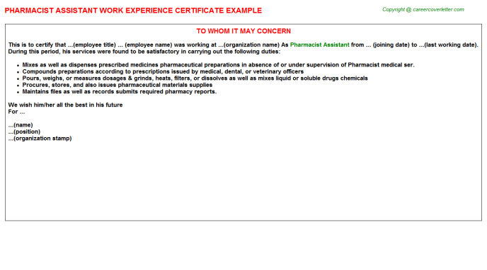 Pharmacist Assistant Work Experience Letter