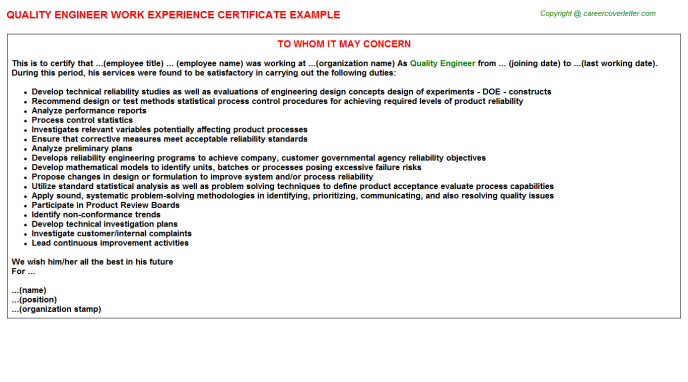 Quality Engineer Experience Letter Template
