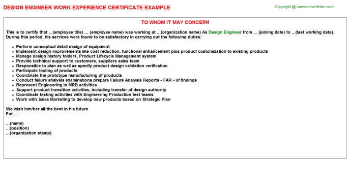 Design Engineer Experience Letter Template