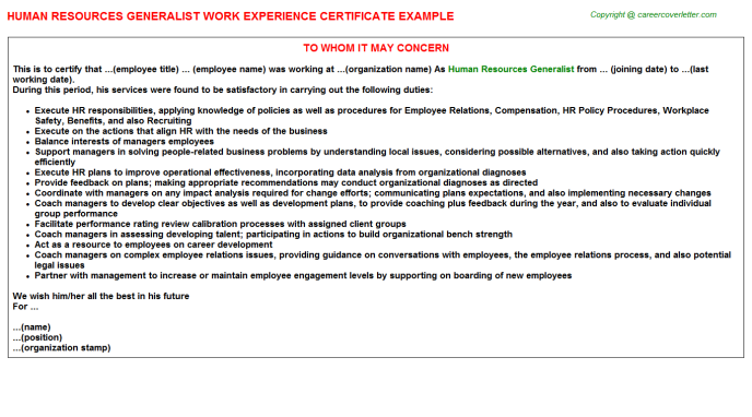 Human Resources Generalist Experience Letter Template