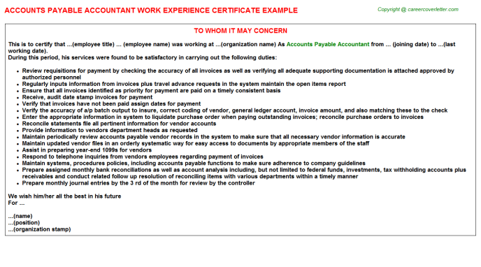Accounts Payable Accountant Work Experience Certificate Template