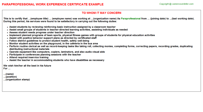 Paraprofessional Experience Letter Template
