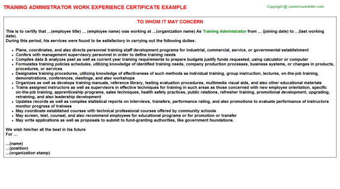 training administrator experience letter template