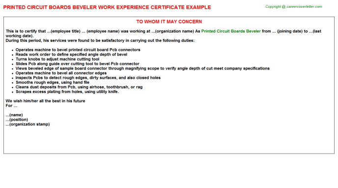 printed circuit boards beveler experience letter template