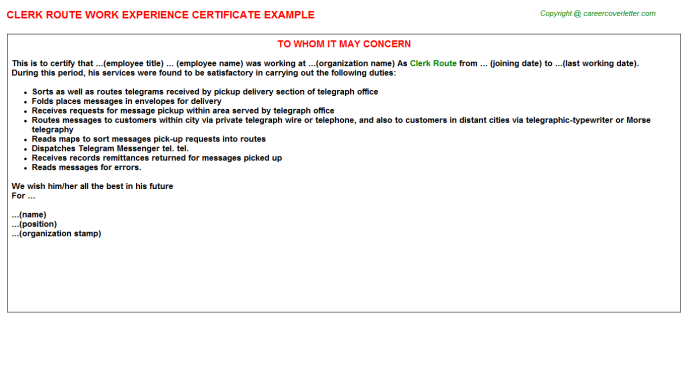 Clerk Route Experience Letter Template