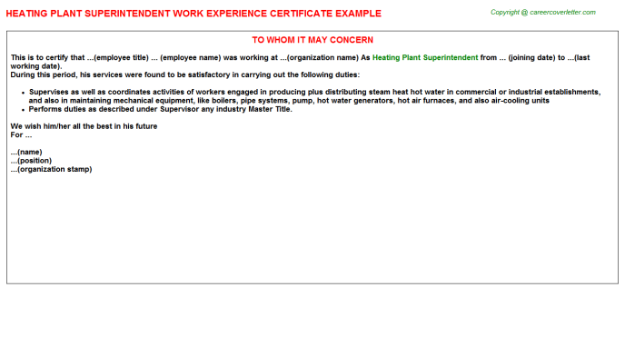 Heating plant Superintendent Experience Letter Template
