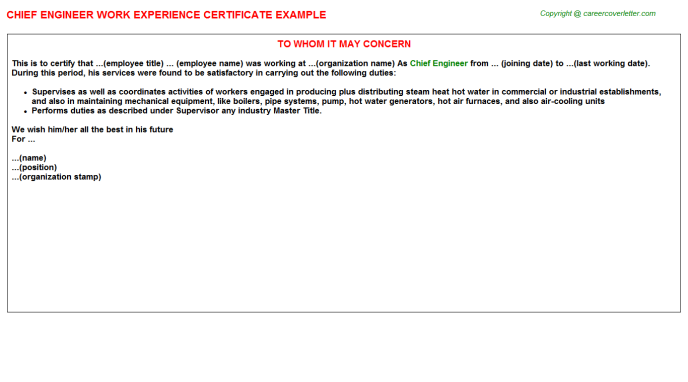 Chief Engineer Experience Letter Template