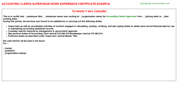 accounting clerks supervisor experience letter template