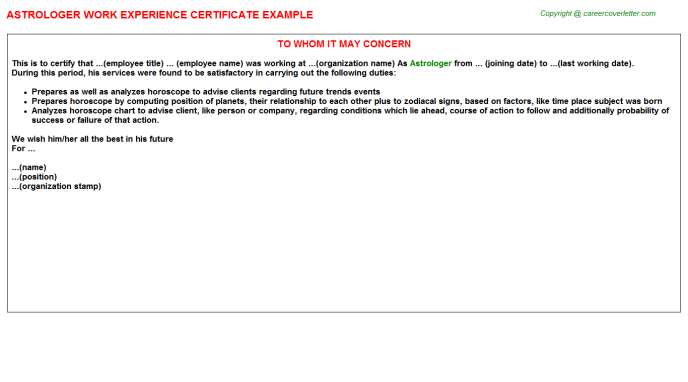 Astrologer Experience Letter Template