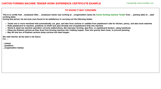 Carton Forming Machine Tender Experience Letter Template