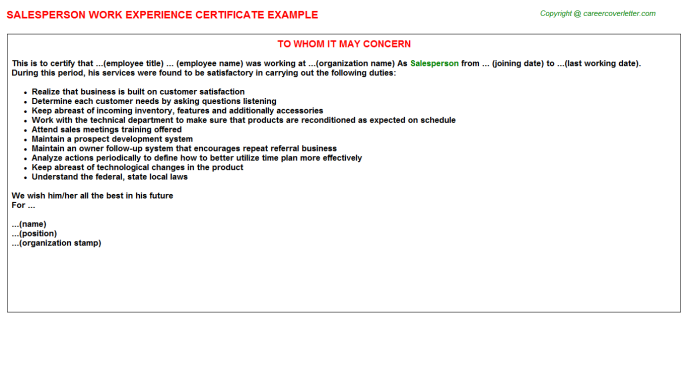 Salesperson Experience Letter Template