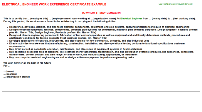 Electrical Engineer Work Experience Certificate Template