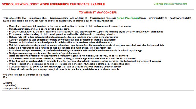 psychologist experience certificate letter