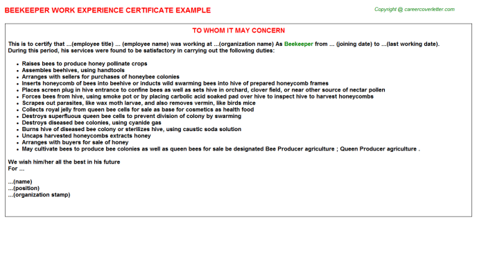 Beekeeper Experience Letter Template