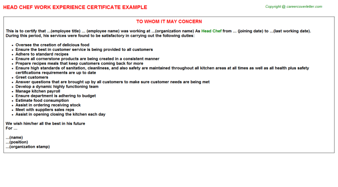 Head Chef Experience Letter Template