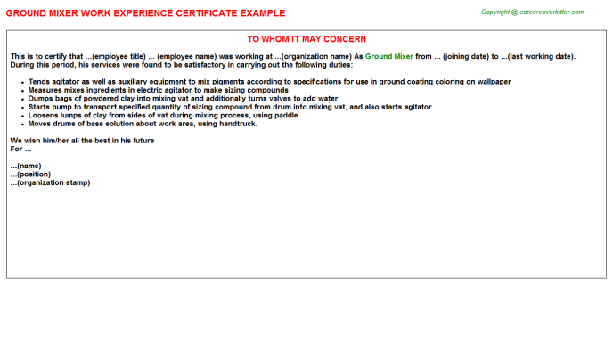 ground mixer experience letter template
