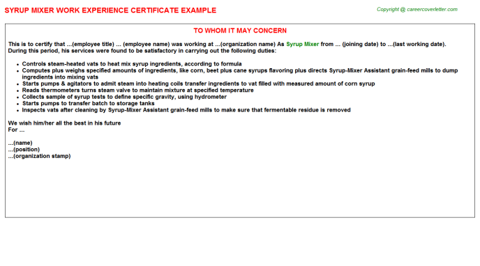 syrup mixer experience letter template