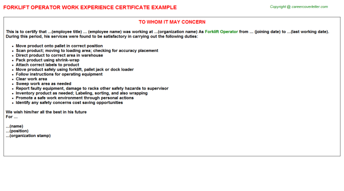 Forklift Operator Experience Letter Template