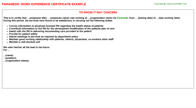 Paramedic Work Experience Certificate Template