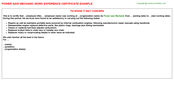 Power Saw Mechanic Experience Letter Template