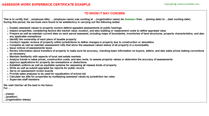 Assessor Experience Certificate Template