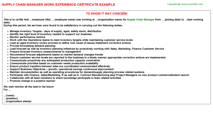 supply chain manager experience letter