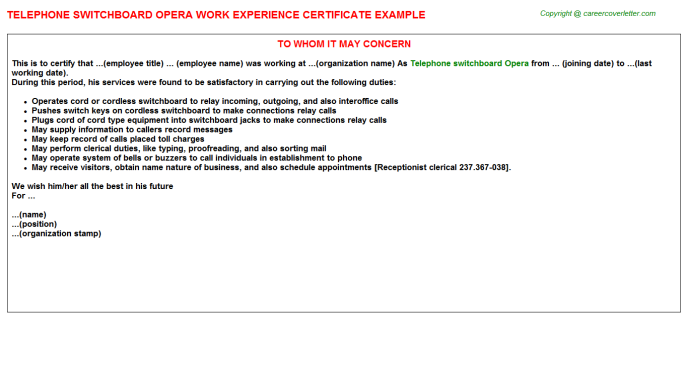 Telephone switchboard Opera Job Experience Letter Template
