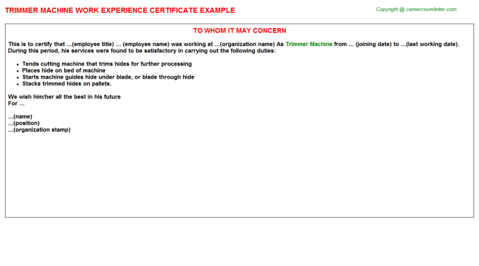 trimmer machine work experience letter (#10406)