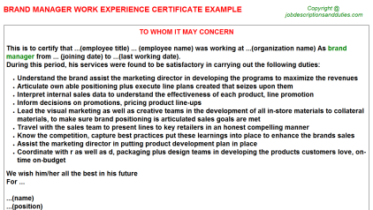 Brand Manager Work Experience Letter Template