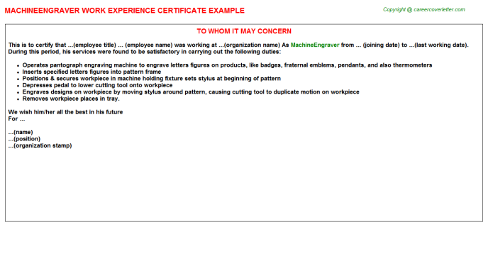 Machineengraver Experience Letter Template