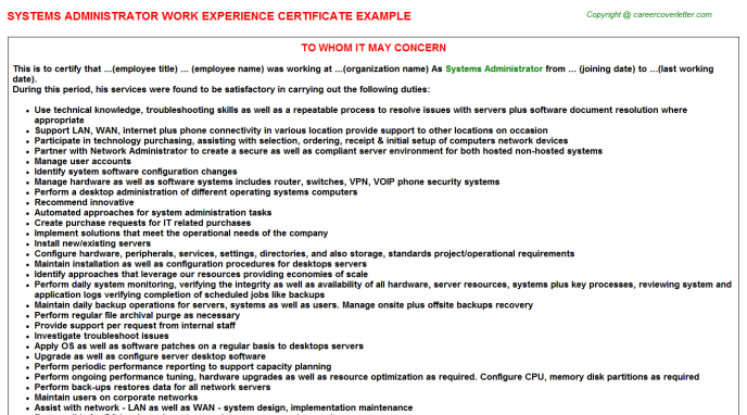 Systems Administrator Experience Letter Template