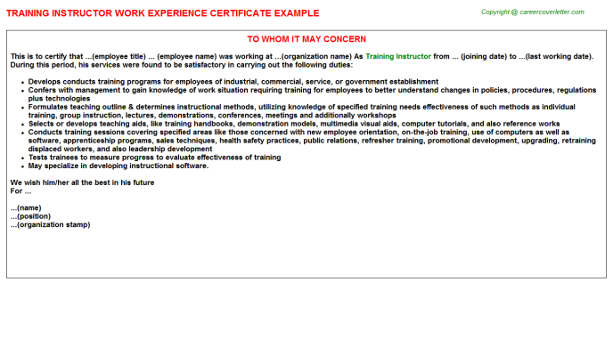 Training Instructor Experience Certificate Template