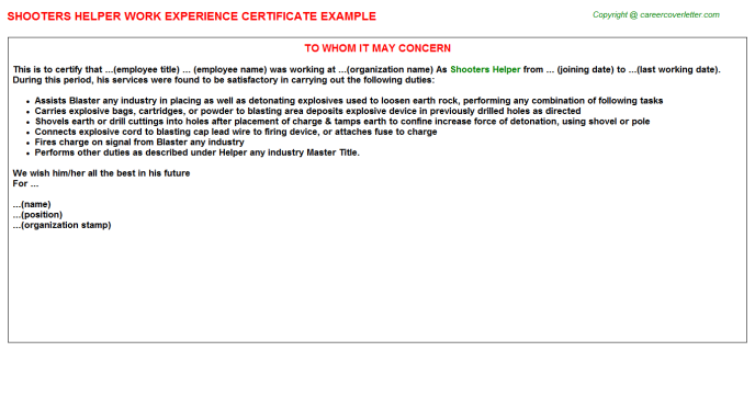 Shooters Helper Experience Letter Template