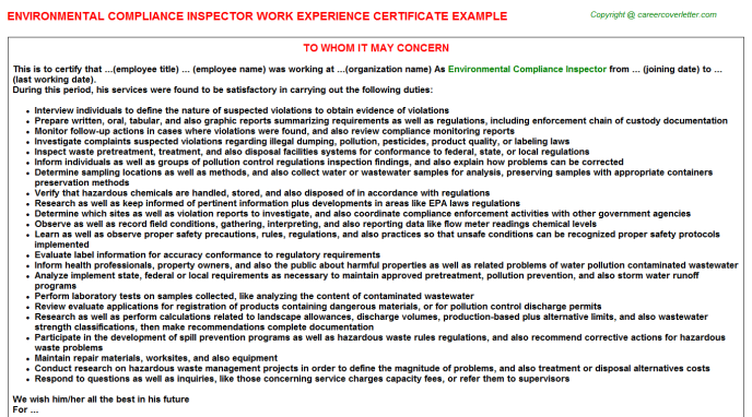 Environmental Compliance Inspector Work Experience Letter