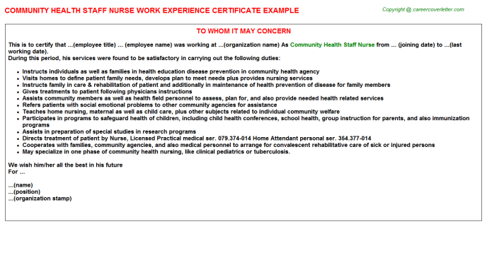 Community Health Staff Nurse Free Doc Format Templates Downloads