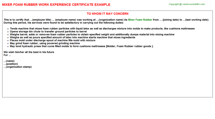 mixer foam rubber experience letter template
