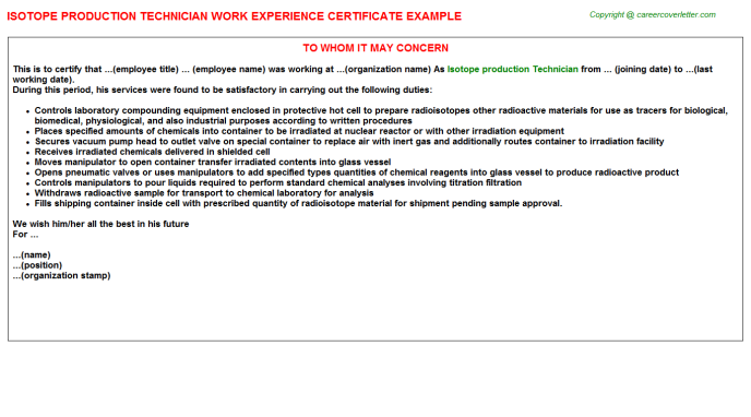Isotope production Technician Experience Letter Template