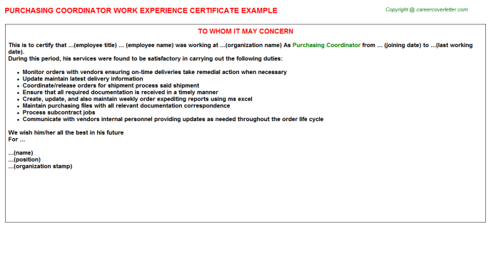 Purchasing Coordinator Work Experience Letter