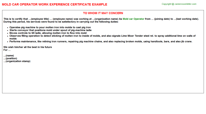 Mold Car Operator Experience Letter