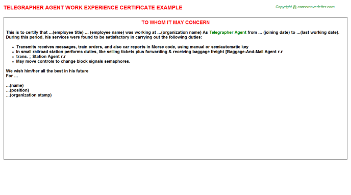Telegrapher Agent Experience Letter Template