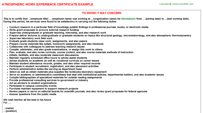 Atmospheric Experience Certificate Template