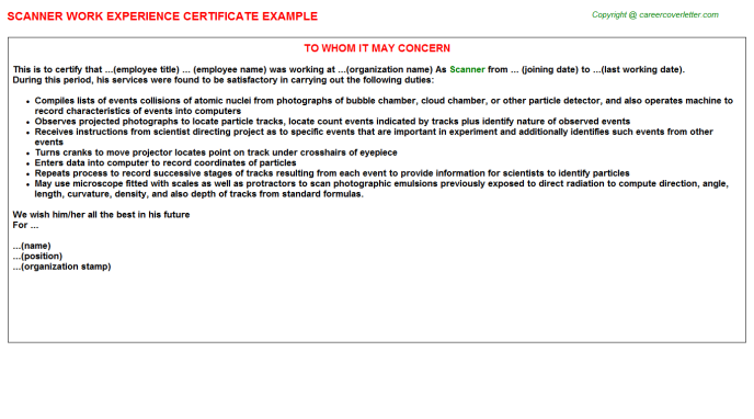 Scanner Work Experience Certificate Template