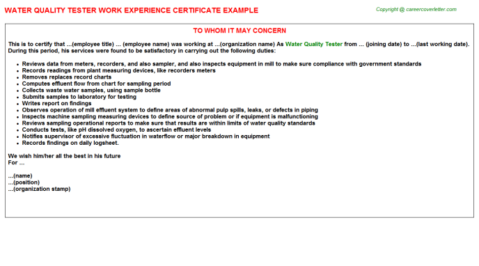 water quality tester experience letter template