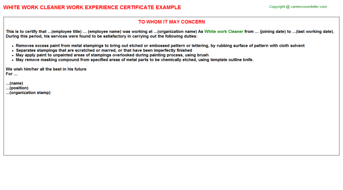White work Cleaner Work Experience Letter Template