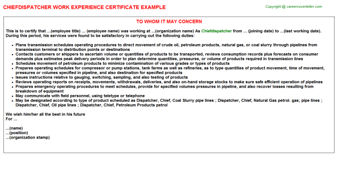 Chiefdispatcher Experience Letter Template