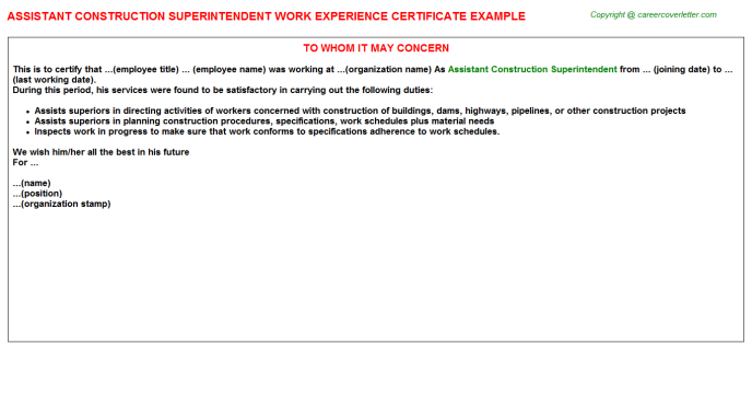 Assistant construction superintendent work experience letter (#21418)