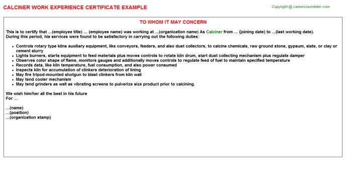 Calciner Work Experience Certificate Template