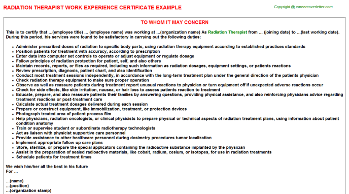Radiation Therapist Experience Letter Template