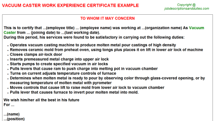 Vacuum Caster Work Experience Letter Template